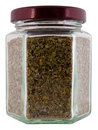 Marjoram medicinal herb in a jar