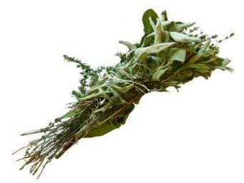 thyme, bayleaves and sage herb