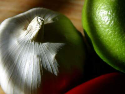 Garlic, medicinal herbs